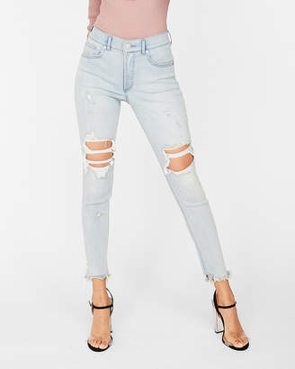 Express High Waisted Ripped Denim Perfect Stretch+ Jean Ankle Leggings