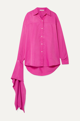 Peter Do - Draped Satin Shirt - Fuchsia