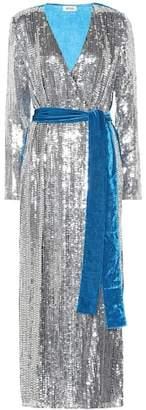 ATTICO Sequined velvet wrap dress