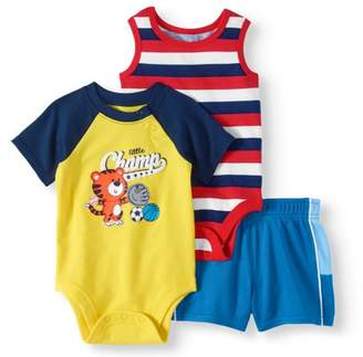 Garanimals Baby Boy 3pc Raglan Bodysuit, Stripe Tank Bodysuit and Mesh Tape Shorts Bundle