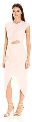 Halston Women's Short Sleeve Round Neck Draped Jersey Dress with Cut Out