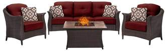 Hanover Gramercy 4-Piece Woven Fire Pit Set in Crimson Red