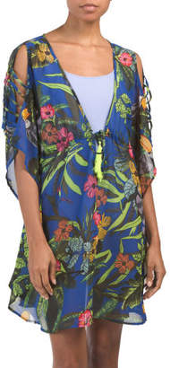 Tropical Print Ladder Sleeve Cover-up