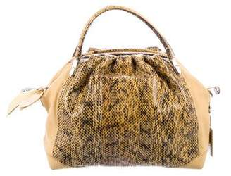 Nina Ricci Python-Trimmed Leather Satchel w/ Tags