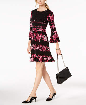 Alfani Petite Tiered-Sleeve Fit & Flare Dress, Created for Macy's