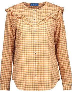 MiH Jeans Nikki Ruffle-Trimmed Checked Cotton-Blend Poplin Blouse