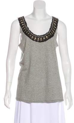 Tory Burch Sleeveless Embellished Knit Top