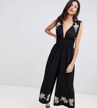 426a0b634fce Asos Tall DESIGN Tall Ruched Waist Plunge Jumpsuit With Embroidery