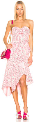Jonathan Simkhai Speckle Print Asymmetric Ruffle Dress in Hibiscus & Red Print | FWRD