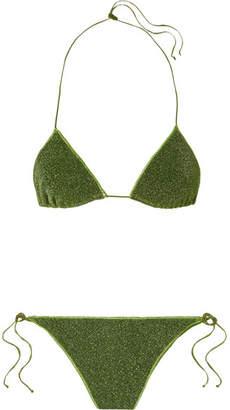 Oséree - Lumière Stretch-lurex Triangle Bikini - Dark green