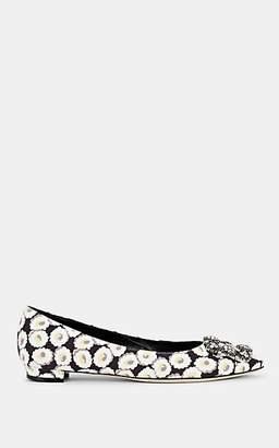 Manolo Blahnik Women's Hangisiflat Embellished Knit Flats - White Fabric
