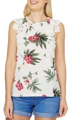 Dorothy Perkins Tropic Trim Sleeveless Top