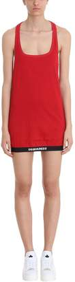 DSQUARED2 Red Cotton Logo Maxi Tank