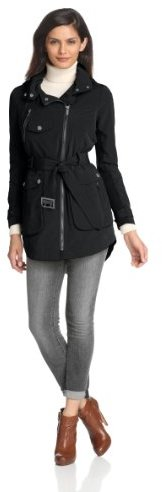 BCBGMAXAZRIA Women's Asymetrical Zip Rain Jacket with Front Pockets and Belt