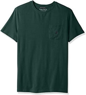 Nautica Men's Standard Short Sleeve Slim Fit Pocket Crew Neck Solid T-Shirt