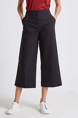 SABA NEW Womens Tia Culotte High Waist Cotton Pant - Black Casual Dressy Pants