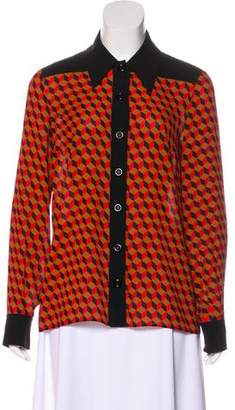 Michael Kors Silk Geometric Print Top