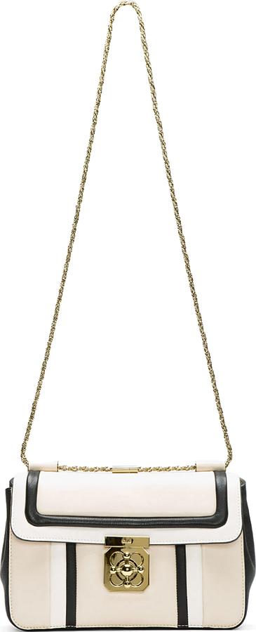 Chloé White Tricolor Leather Elsie Shoulder Bag
