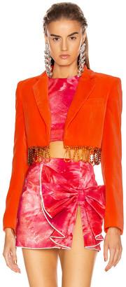 Area Cropped Bolero Jacket in Fluo Orange   FWRD