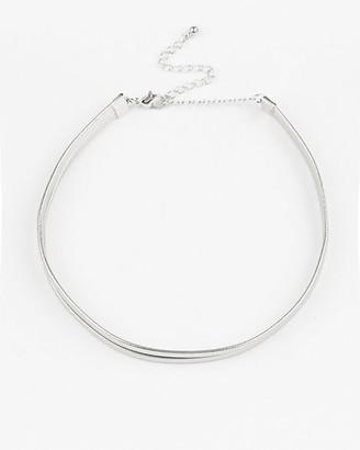 Le Château Metallic Leather-Like Choker Necklace