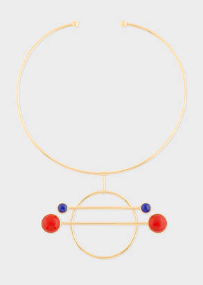Paul Smith Rachel Entwistle + Gold 'Balance' Necklace With Blue Lapis Lazuli And Red Coral Stones