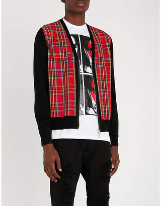 DSQUARED2 Tartan-trimmed wool and twill cardigan