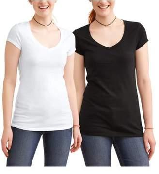 No Boundaries Juniors' Everyday V-Neck Short Sleeve T-Shirt 2 Pack