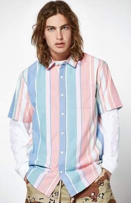 PacSun Sherbet Striped Short Sleeve Button Up Shirt