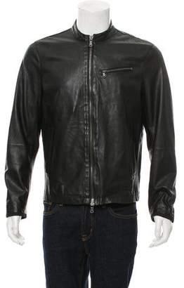 John Varvatos Leather Zip-Front Jacket