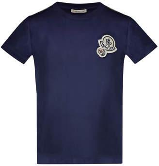 Moncler Maglia Short-Sleeve T-Shirt w/ Logos, Navy, Size 4-6