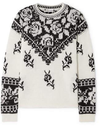 RED Valentino Intarsia Wool Sweater - Ivory
