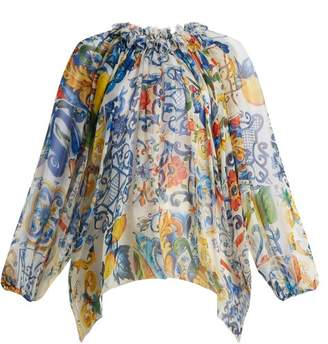 Dolce & Gabbana Majolica Print Silk Chiffon Blouse - Womens - White Print