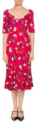 Erdem Glenys Hideko Garden Floral-Print Calf-Length Dress