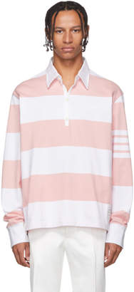 Thom Browne Pink and White 4-Bar Oversized Long Sleeve Polo