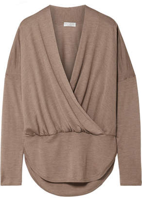 Brunello Cucinelli Wrap-effect Mélange Cashmere And Silk-blend Sweater - Brown