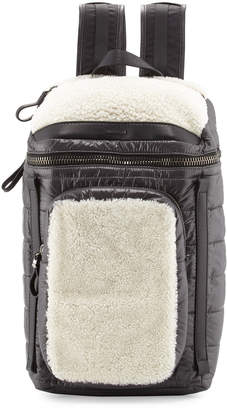 Moncler Quilted Nylon Backpack w/Shearling Trim, Black/Ivory