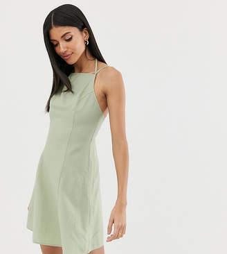 Asos Tall DESIGN Tall high neck low back mini linen sundress