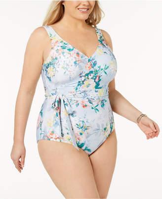 Becca Etc Plus Size Faux-Wrap One-Piece Swimsuit Women's Swimsuit