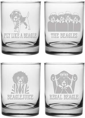 Susquehanna Glass Set Of Four Beagle Assortment Rocks 14Oz Glasses