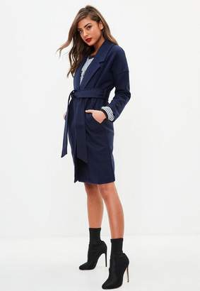 Missguided Navy Over Sized Longline Coat