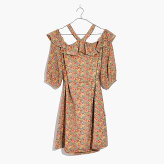 Madewell Silk Forsythia Cold-Shoulder Dress in Prairie Blossoms