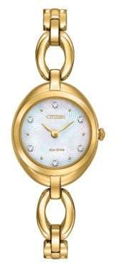 Citizen Eco-Drive Goldtone Bangle Watch with Crystal