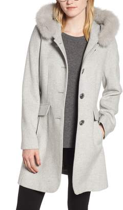 Kristen Blake Genuine Fox Trim Hooded Wool Coat