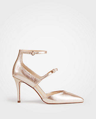 65556bd7590 Ann Taylor Leanna Metallic Leather Bow Pumps