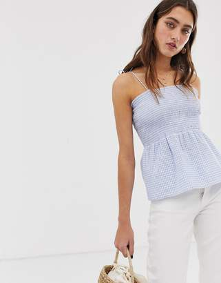 Only smock gingham crop top