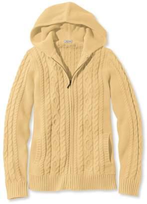 L.L. Bean L.L.Bean Double L Mixed-Cable Sweater, Zip-Front Hoodie