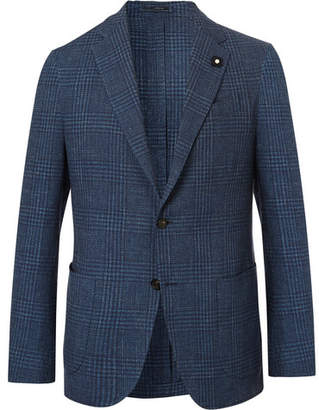Lardini Navy Slim-Fit Prince Of Wales Checked Cotton And Linen-Blend Blazer
