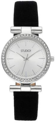 Studio Time Women's Crystal Leather Watch