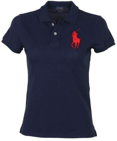 Polo Ralph Lauren Women's Big Pony Skinny Mesh Polo Shirt-Navy
