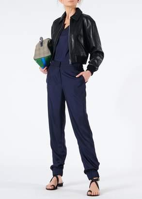 Tibi Leather Gus Cropped Jacket